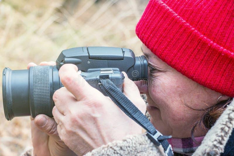 Weiblicher Fotograf, der im Sucher schaut lizenzfreie stockbilder