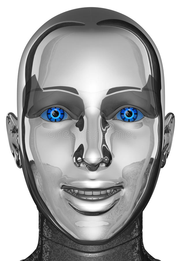 Weiblicher Frauen-Android-Roboter-Kopf und Gesicht lokalisiert lizenzfreie abbildung