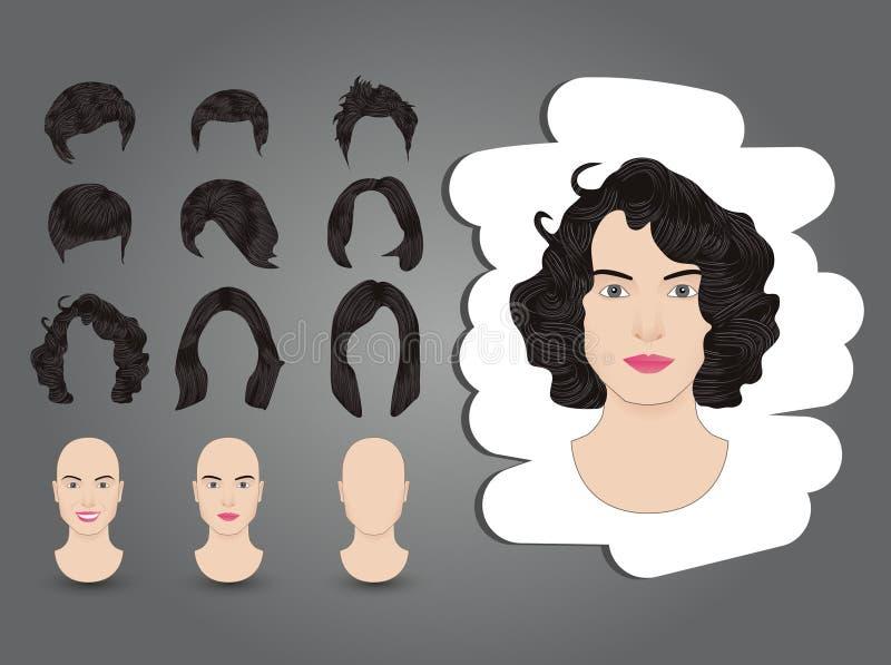 Weiblicher Frisur Brunette vektor abbildung