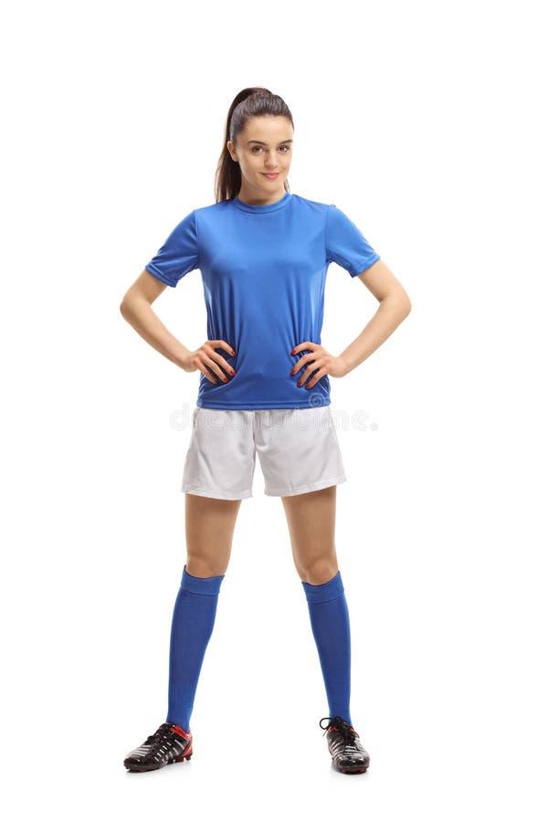 Weiblicher Fußball-Spieler stockfotos