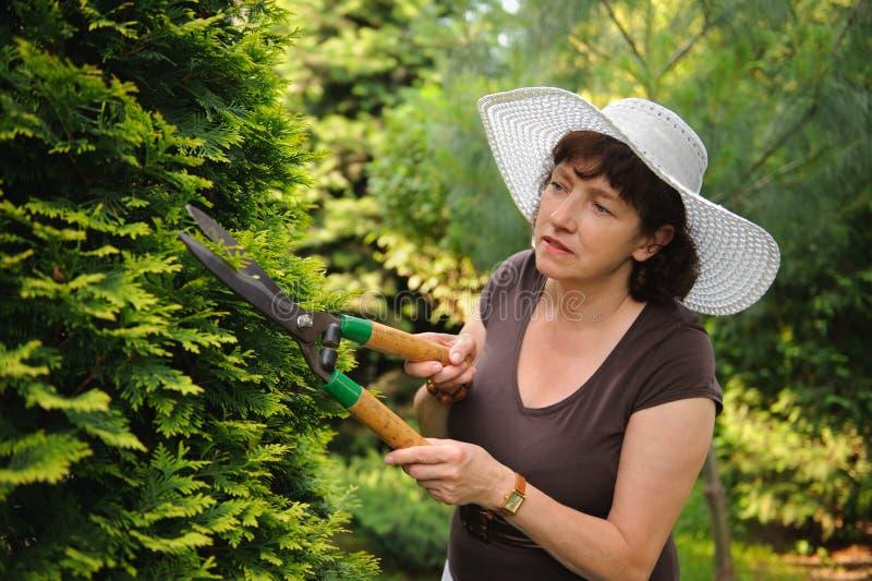 Weiblicher Gärtner im weißen Hut stockfotografie