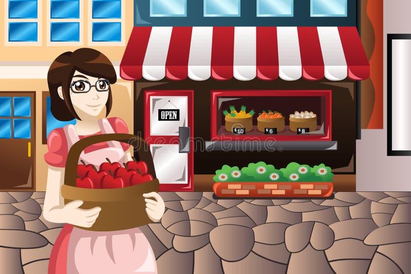 Weiblicher Geschäftsinhaber, vor ihrem Speichertragen bas stehend stock abbildung