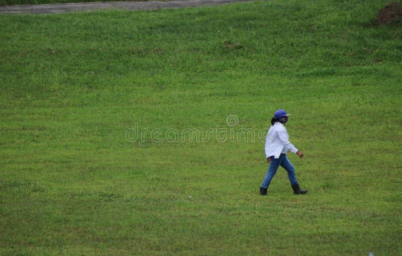 Weiblicher Golfballkollektor in den Philippinen lizenzfreies stockfoto