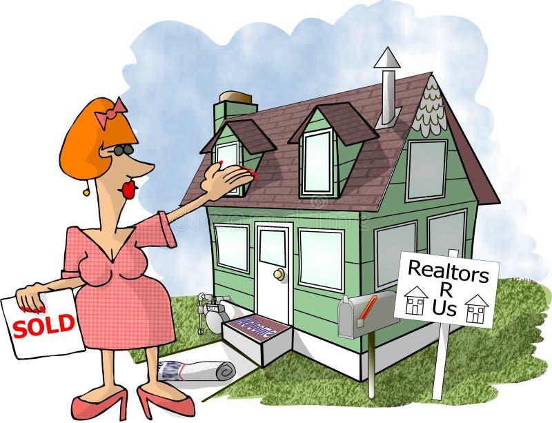 Weiblicher Grundstücksmakler stock abbildung