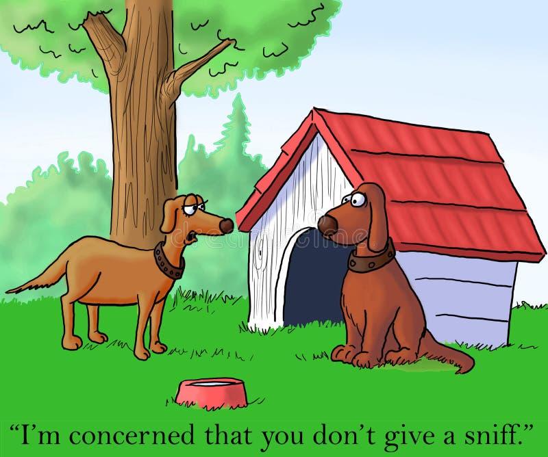 Weiblicher Hund möchte vom Mann geschnüffelt werden lizenzfreie abbildung