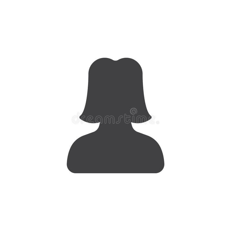 Weiblicher Ikonenvektor des Benutzerkontos, lizenzfreie abbildung