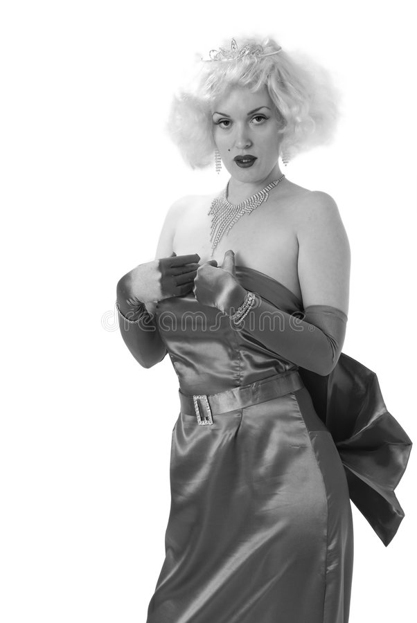 Weiblicher Imitator in Schwarzweiss stockfotografie