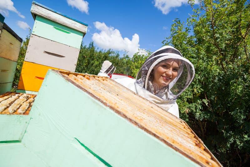 Weiblicher Imker Working With Colleague am Bienenhaus lizenzfreie stockfotografie