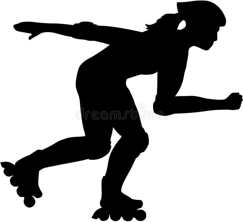 Weiblicher Inline-Schlittschuhläufer stock abbildung