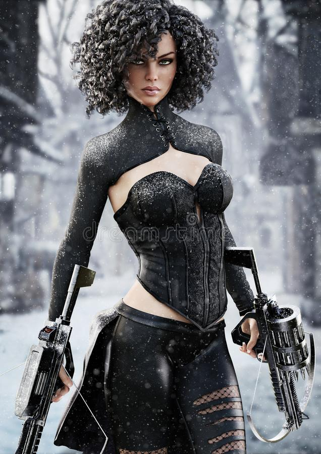 Weiblicher Jäger der Fantasie, der die Duellarmbrüste aufspüren ihr Ziel durch Schnee hält lizenzfreie abbildung