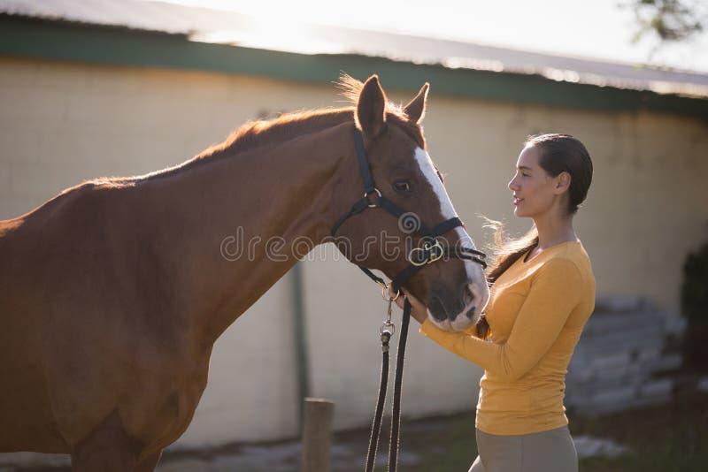 Weiblicher Jockey mit Pferd an der Scheune stockfotografie