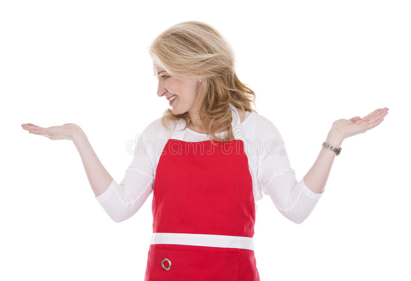 Weiblicher Koch im Schutzblech lizenzfreie stockbilder