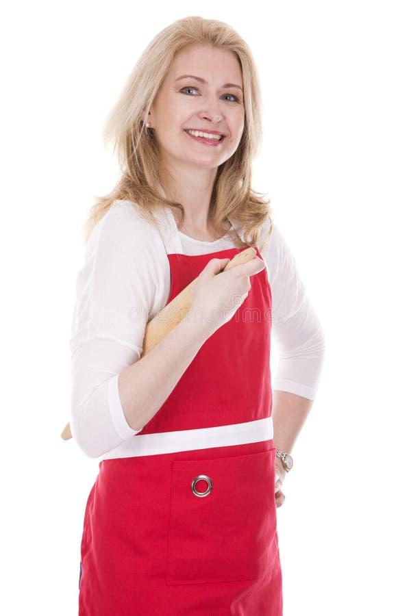 Weiblicher Koch im Schutzblech stockfoto