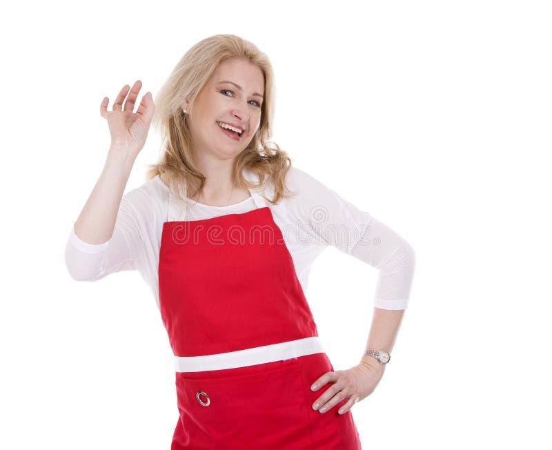 Weiblicher Koch im Schutzblech stockbild
