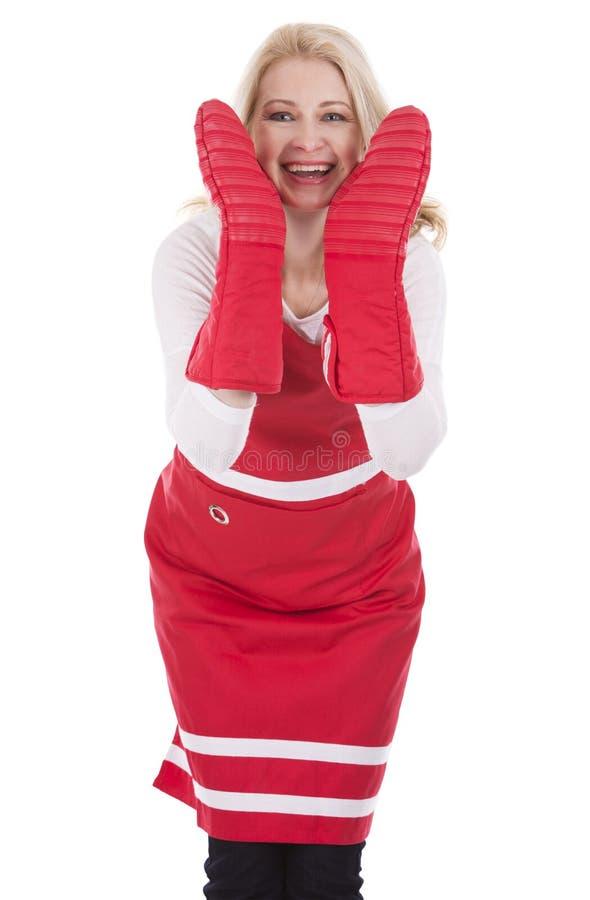 Weiblicher Koch im Schutzblech lizenzfreies stockbild