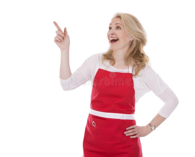 Weiblicher Koch im Schutzblech stockfotos