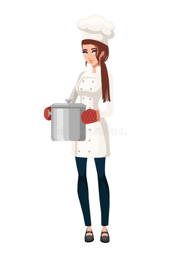 Weiblicher Koch mit Ofenhandschuh h?lt kochenden Stahltopf Frauen in der wei?en Uniform Zeichentrickfilm-Figur-Design Flache Illu lizenzfreie abbildung