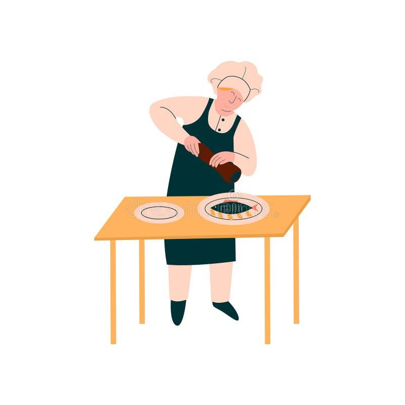 Weiblicher Koch Preparing und schmücken Teller auf Tabelle, Berufs-Kitchener-Charakter in der Uniform kochend auf Küche lizenzfreie abbildung