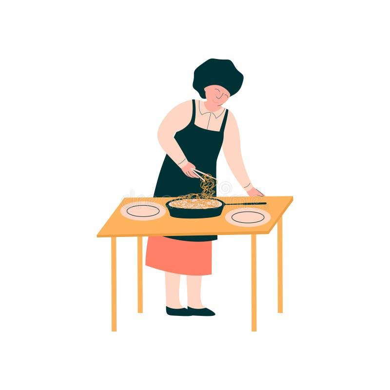 Weiblicher Koch Preparing und Servierteller auf Tabelle, Berufs-Kitchener-Charakter in der einheitlichen Vektor-Illustration stock abbildung