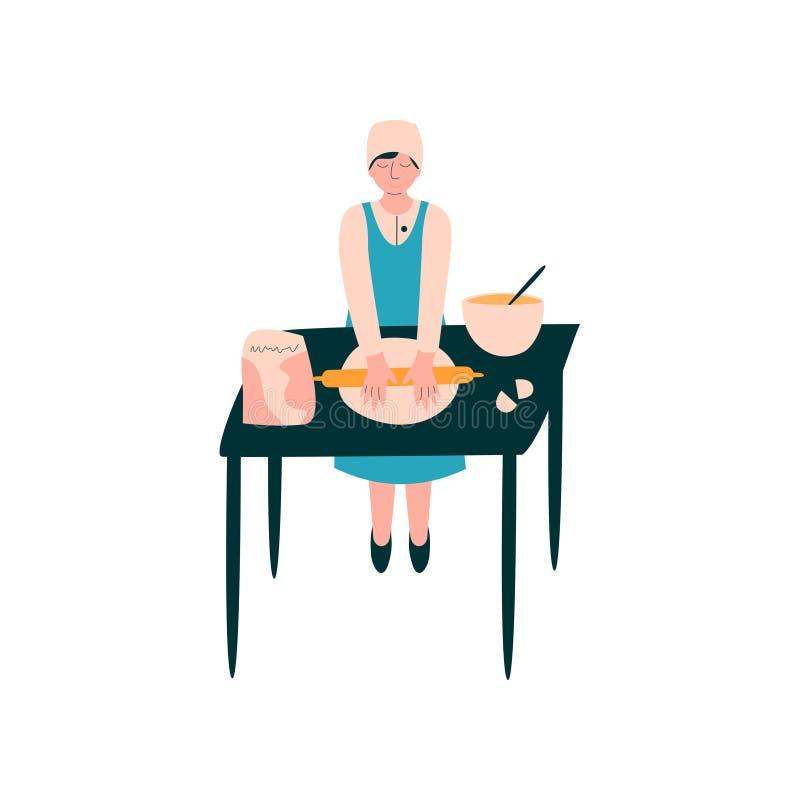Weiblicher Koch Rolling Dough auf Tabelle, Berufsbäcker Character im einheitlichen Kochen auf Küchen-Vektor-Illustration stock abbildung