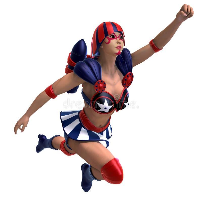 Weiblicher komischer Held in einer roten, blauen, weißen Ausstattung vektor abbildung
