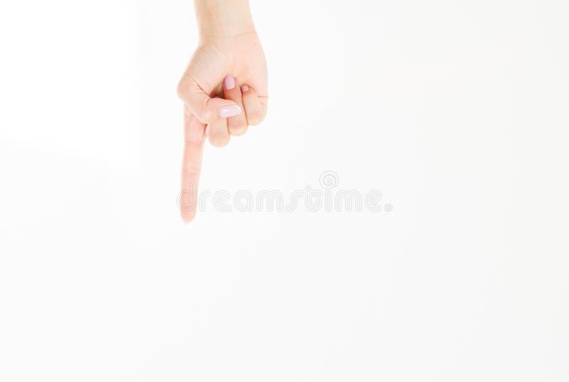 Weiblicher lokalisierter weißer Hintergrund des Fingers Punkt Frauenmädchenhand Spott oben Kopieren Sie Platz schablone leerzeich lizenzfreies stockfoto