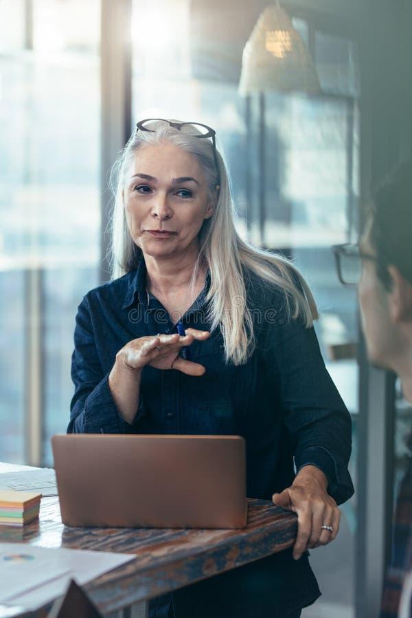 Weiblicher Manager, der eine Sitzung mit ihrem Team im Büro hat lizenzfreie stockfotografie