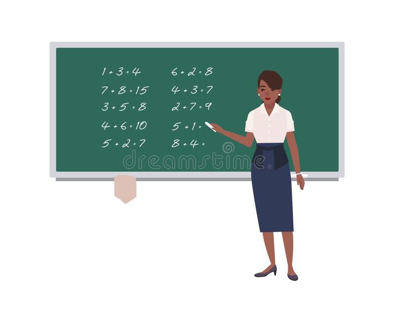 Weiblicher Mathelehrer, der mathematische Ausdrücke auf grüne Tafel schreibt Glücklicher Afroamerikanerfrauenunterricht lizenzfreie abbildung