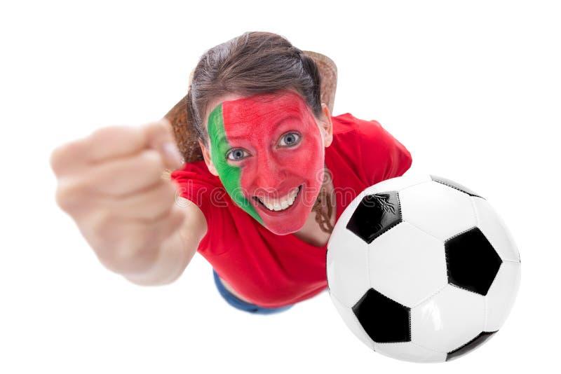 Weiblicher portugiesischer Fußballfan stockfotografie