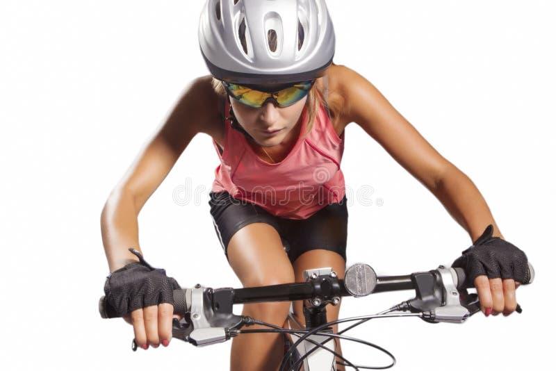 Weiblicher Radfahrer stockfotos