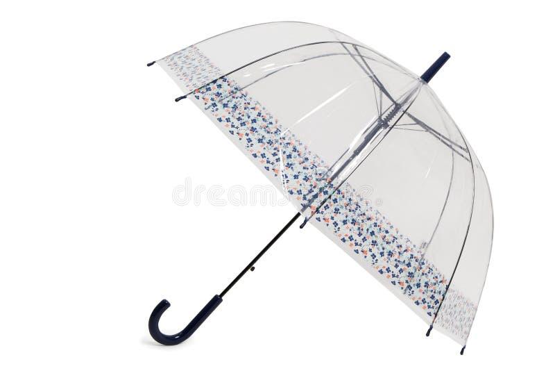 Weiblicher Regenschirm Tranclucent, der auf weißen Hintergrund legt stockbild