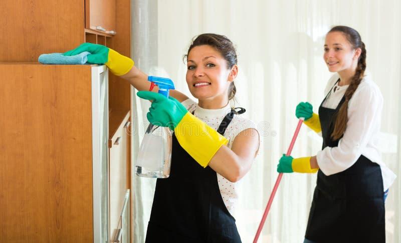 Weiblicher Reinigerreinigungsraum stockfotos