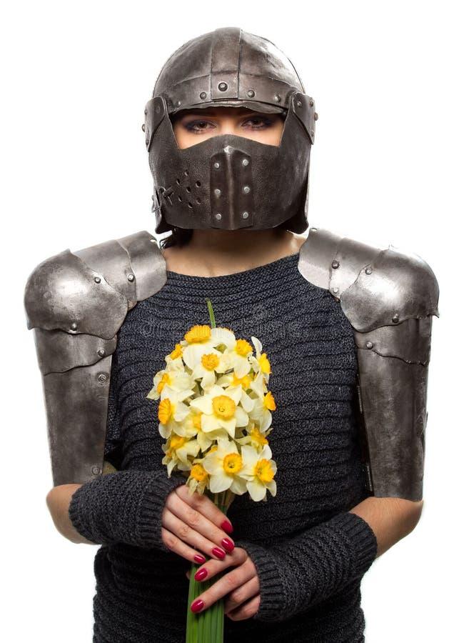 Weiblicher Ritter in der Rüstung stockbild