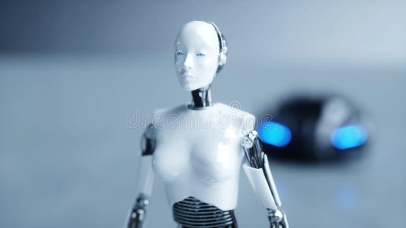 Weiblicher Roboter des futuristischen Humanoid ist walkihg zum Auto Konzept von Zukunft Wiedergabe 3d stock abbildung