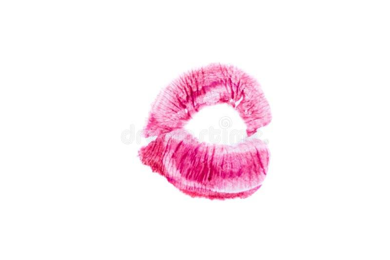Weiblicher schöner roter Lippendruck Isolierung des Impressums der Lippen auf einem weißen Hintergrund Frau ` s Rosa-Kussstempel  stockfotos