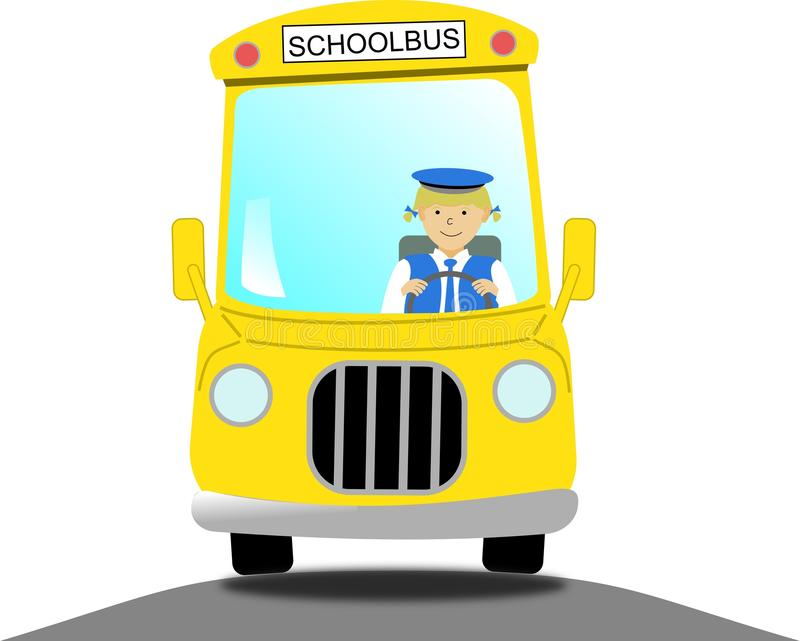 Weiblicher Schulbusfahrer in einem gelben Schulbus stock abbildung