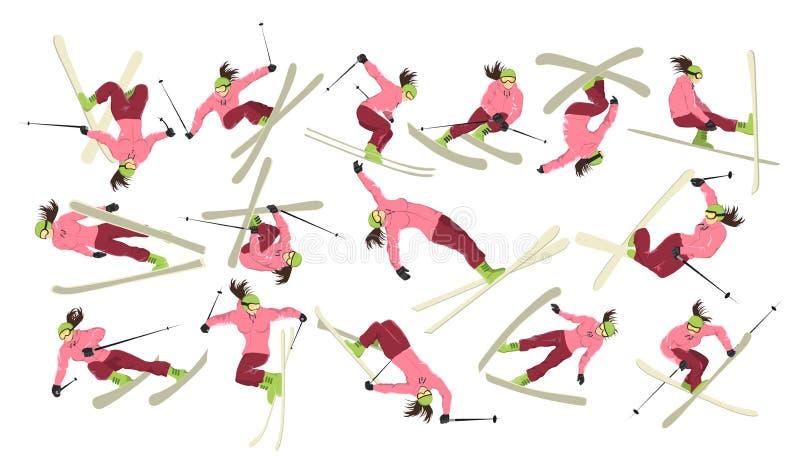 Weiblicher Skifahrersatz stock abbildung