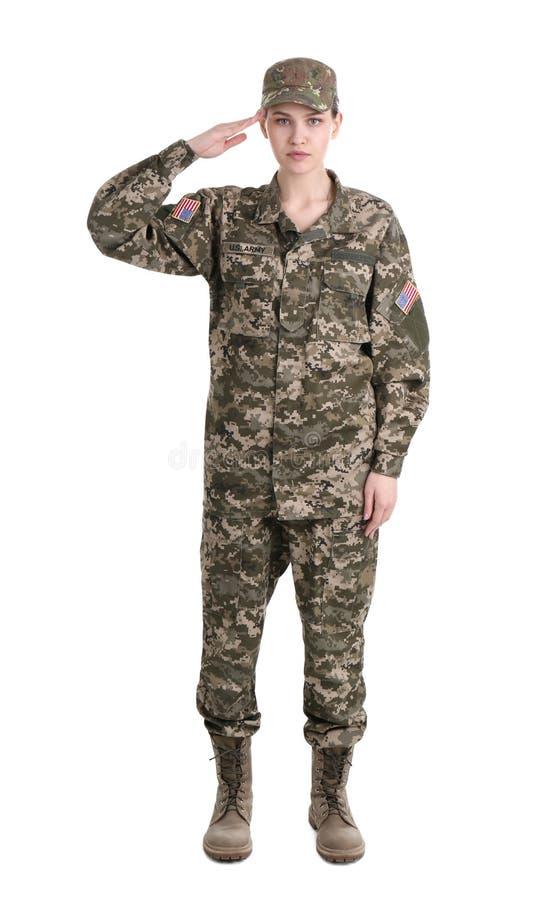 Weiblicher Soldat auf weißem Hintergrund lizenzfreies stockbild