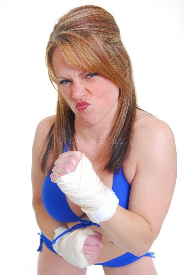 Weiblicher Stoßboxer lizenzfreie stockfotografie