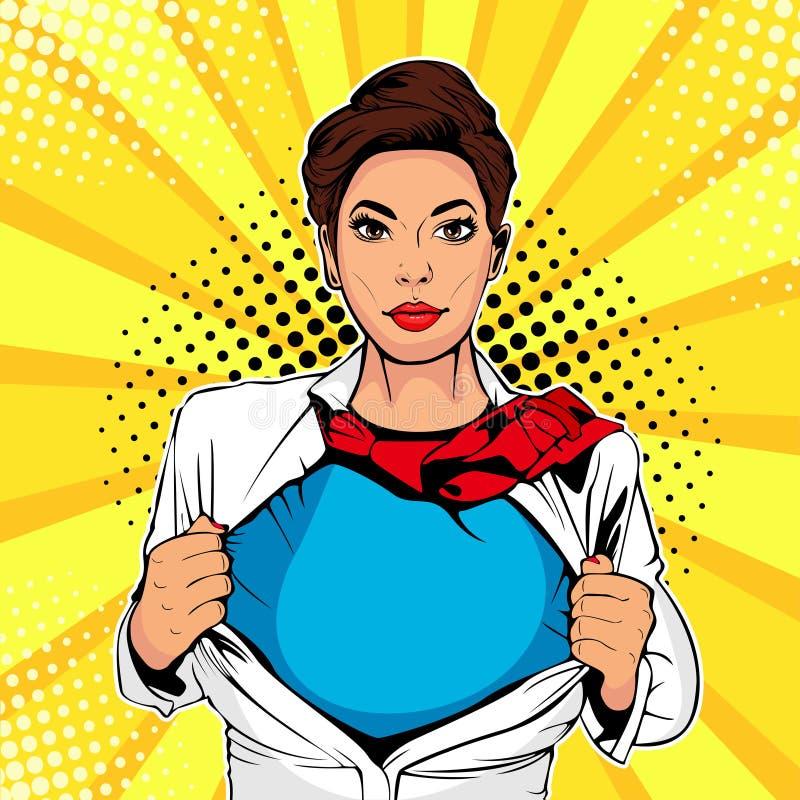 Weiblicher Superheld der Pop-Art zeigt Superheldt-shirt Vektorillustration in der komischen Art der Pop-Art lizenzfreie abbildung