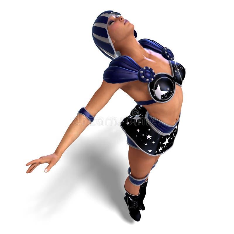 Weiblicher Superheld in der schwarzen und blauen Ausstattung vektor abbildung