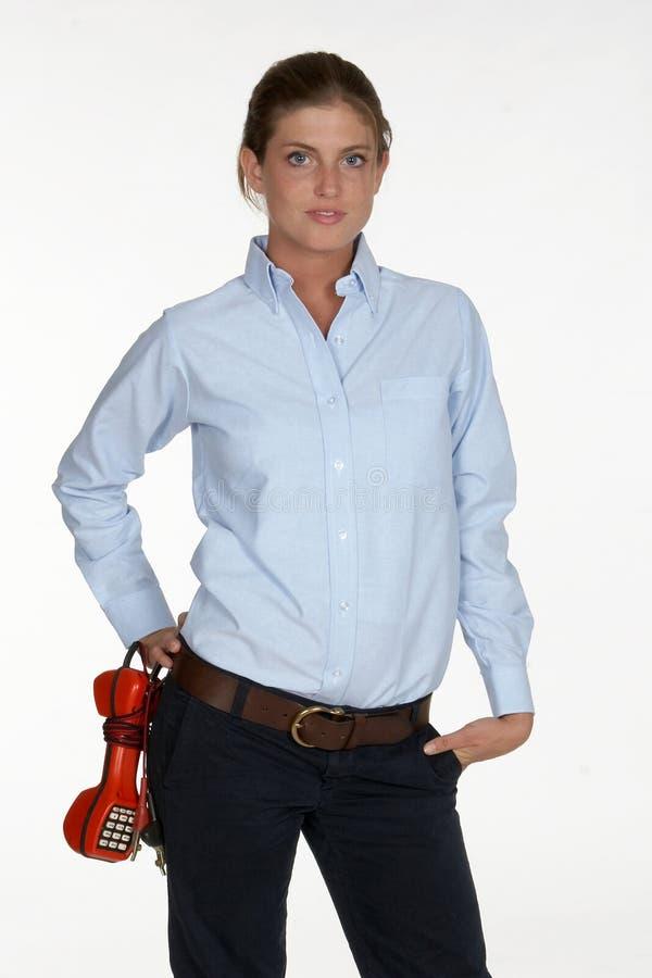 Weiblicher Telefon-Techniker stockfotografie