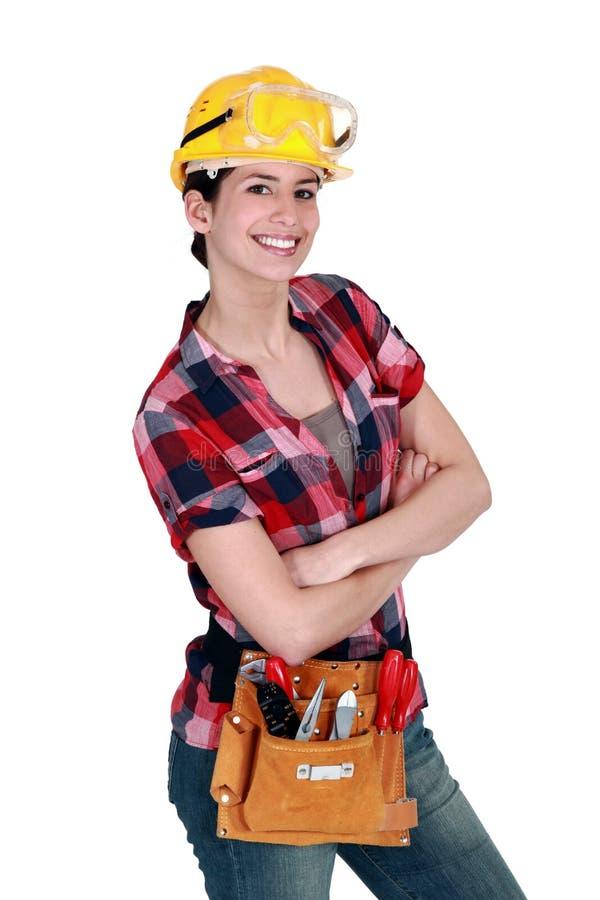 Weiblicher Tischler stockfoto