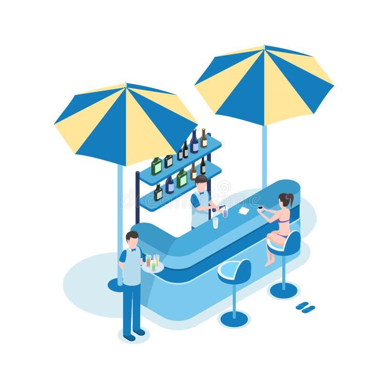 Weiblicher Tourist in der isometrischen Vektorillustration der Strandbar Frauen-, Barmixer- und Kellner3d Zeichentrickfilm-Figure lizenzfreie abbildung