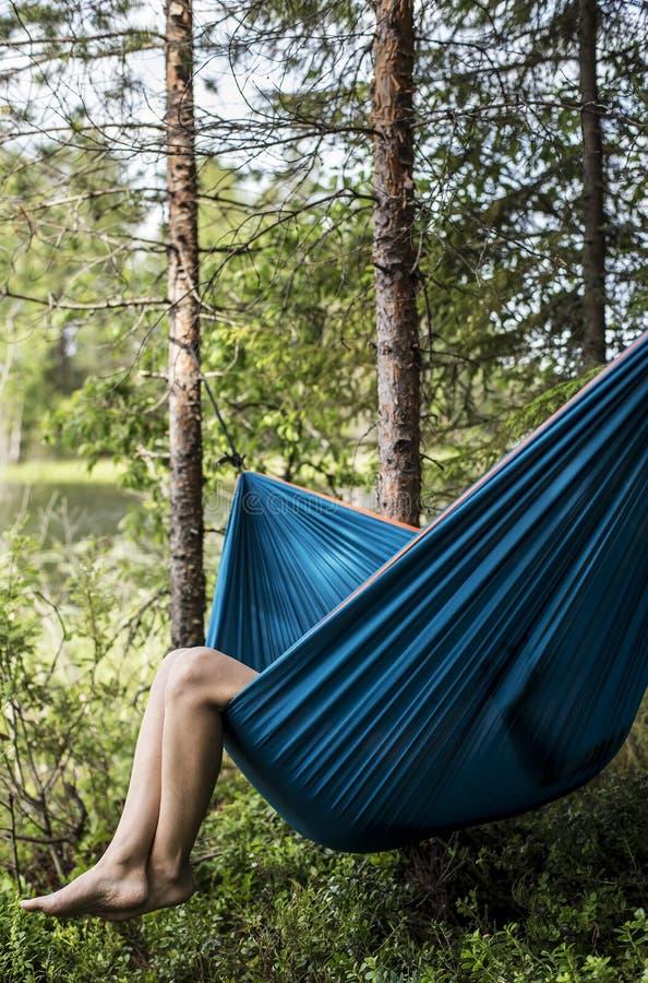 Weiblicher Tourist steht in einer Hängematte im Wald, auf einem blurr still lizenzfreie stockfotografie