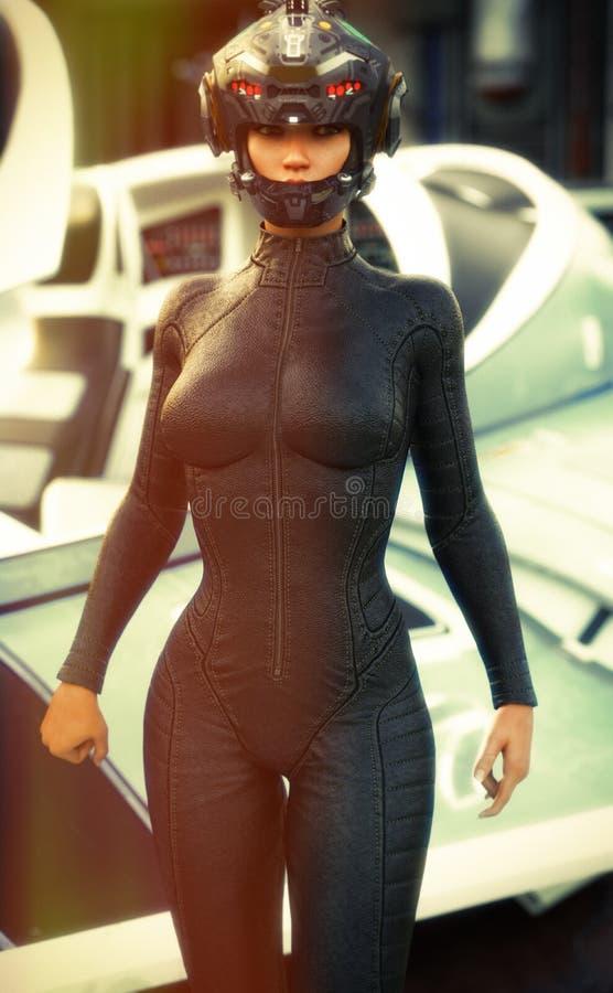 Weiblicher tragender Versuchssturzhelm und Uniform der Zukunftsromane, die von einem Auftrag mit Raumschiff im Hintergrund zurück vektor abbildung