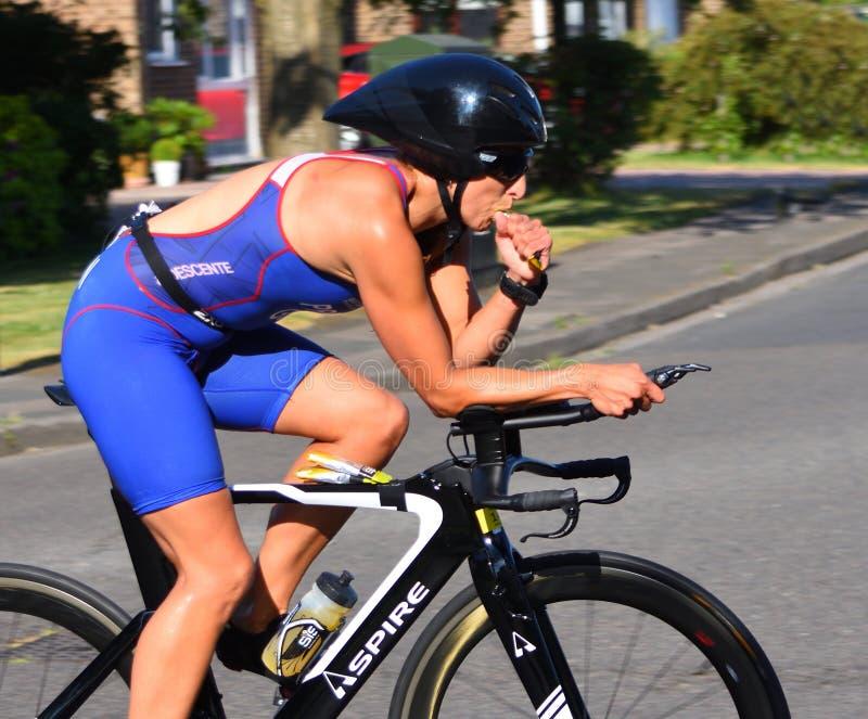 Weiblicher Triathlon-Konkurrent auf dem Fahrrad, das Energiegetränk nimmt stockbild