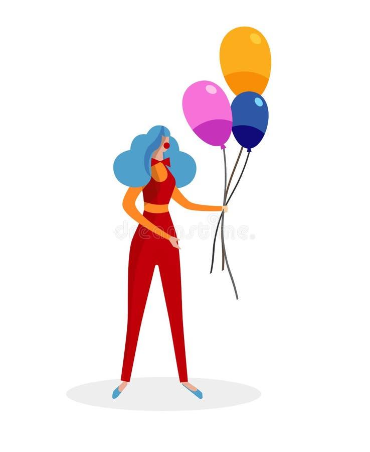 Weiblicher Trickzeichner im roten Clown Costume mit Ballonen vektor abbildung