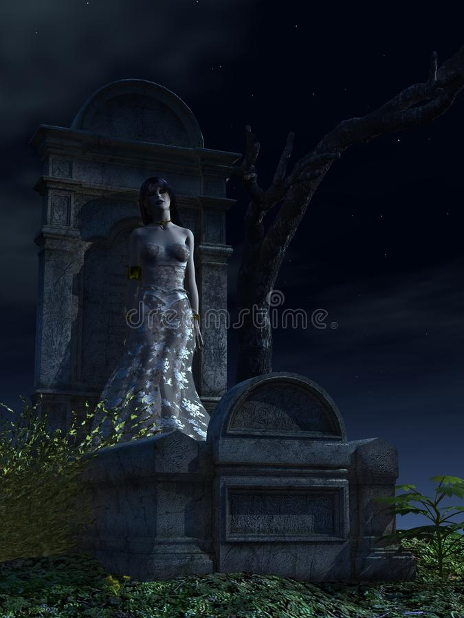 Weiblicher Vampir, der an der Finanzanzeige sich lehnt vektor abbildung