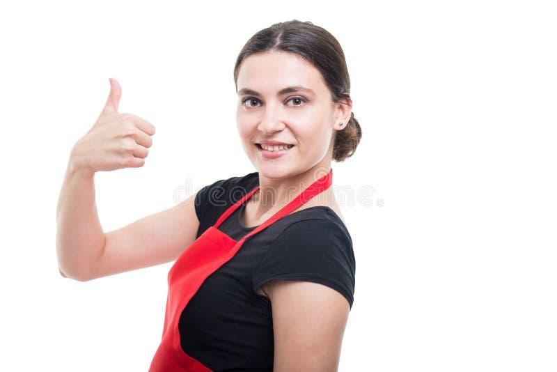 Weiblicher Verkaufsberater, der wie Gestenzeichen darstellt lizenzfreie stockfotografie